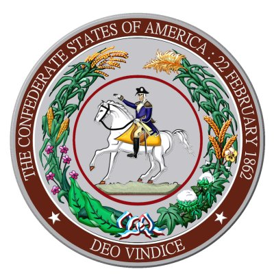 Great Seal of the Confederacy featuring George Washington, Father of the Confederate States of America