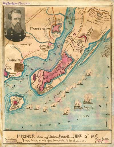 This map of the Union attack on Ft. Fisher in Jan. 1865 shows the route the Little Hattie would have taken.