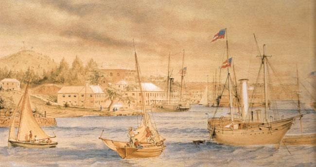 Confederate blockade runner in St. George's Harbour, Bermuda circa 1864.
