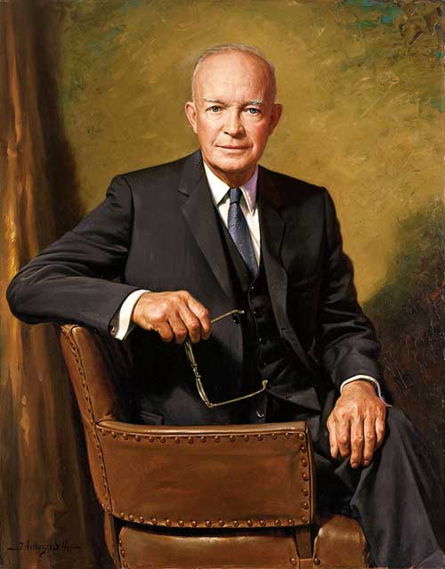 The official White House portrait of Dwight D. Eisenhower by James Anthony Wills.