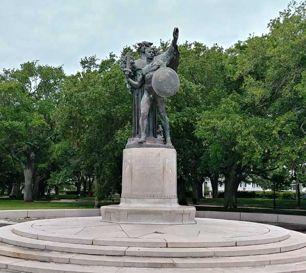 Confederate Defenders of Charleston and Fort Sumter Monument at the Battery, Charleston, South Carolina June 2020.