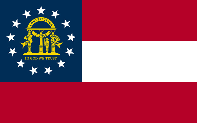 The current Georgia state flag since 2003, exactly like the Confederate First National Flag, the Stars and Bars.