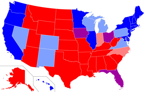 United States electoral map showing clearly that the South is where Republican Party power is. It is time to stand up for Southern history. Have no fear. Democrats can't hurt you at all but you can hurt them when you are united with your Southern base.