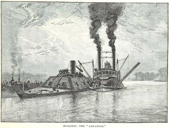 The building of the Confederate ironclad ram, Arkansas.