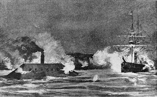 CSS Arkansas singlehandedly fighting the Yankee fleet in the Mississippi above Vicksburg, July 15, 1862.
