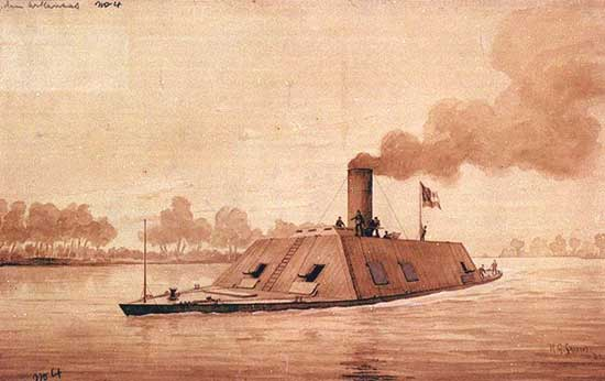 CSS Arkansas, 165 ft long, 35 ft wide, ram at bow, 10 guns, 232 men.