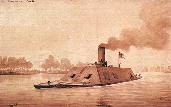CSS Arkansas, 165 ft long, 35 ft wide, ram at bow, 10 guns, 232 men.