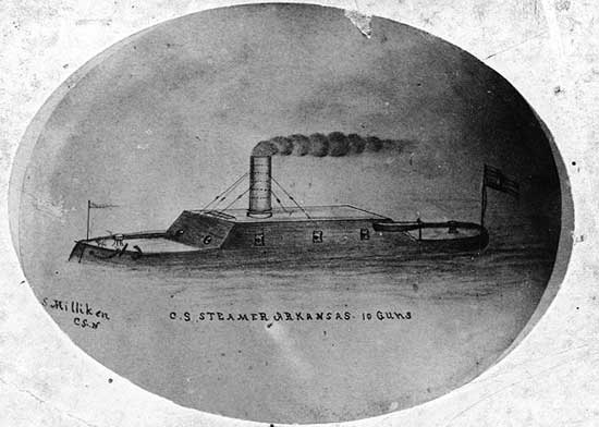 CSS Arkansas drawing by crew member S. Milliken.