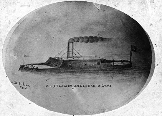 CSS Arkansas drawing by crew member S. Milliken.