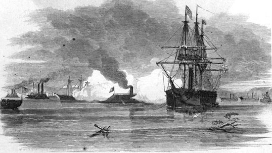CSS Arkansas takes on most of the Federal fleet in the Mississippi, July 15, 1862.