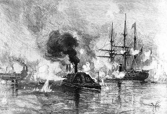 CSS Arkansas singlehandedly fighting the Federal fleet in the Missisippi, July 15, 1862.
