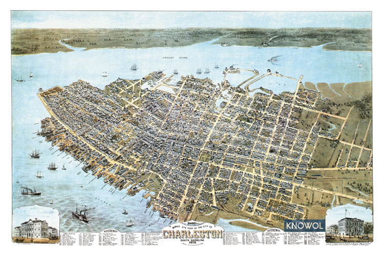 Charleston in 1872 by prominent map maker C. N. Drie.
