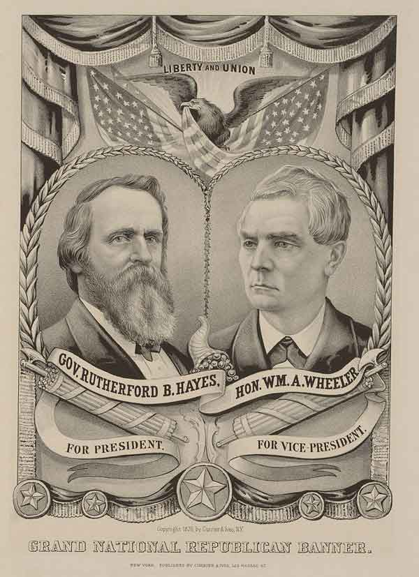 Currier & Ives campaign poster for 1876 Republican ticket, Ohio Gov. Hayes, and VP Wheeler.