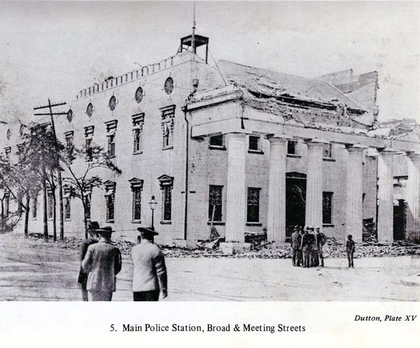 Main Chas. Police Station at Broad and Meeting, where the US Post Office is today. This photo after 1886 earthquake.