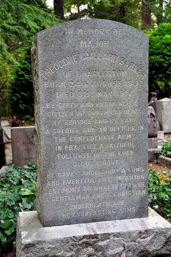 Flat Rock, NC grave of Maj. Theodore Gaillard Barker, who organized the Carolina Rifle Club in 1869.