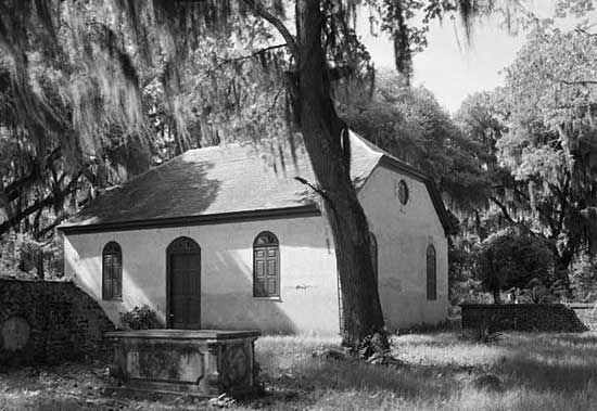 Strawberry Chapel, near the Cooper River in Berkeley County, built in 1725.
