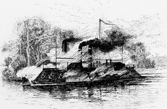 CSS Arkansas gets the best of the USS Carondelet, July 15, 1862.