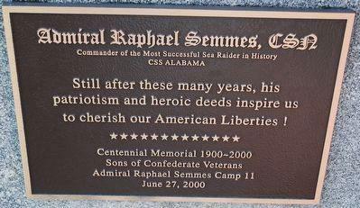 Admiral Raphael Semmes Camp 11, SCV, plaque.