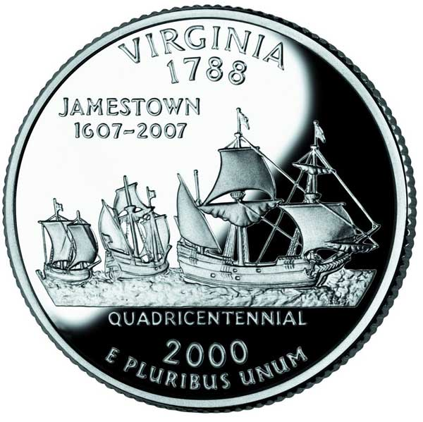 Coin with the Susan Constant, Discovery, and Godspeed, Jamestown, 1607.