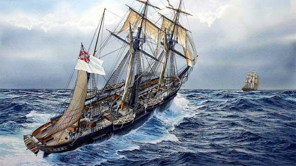 CSS Alabama chasing a clipper ship.