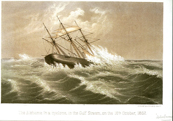 CSS Alabama in a cyclone in the Gulf Stream on 16 October 1862.