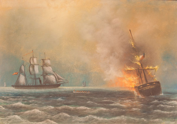 CSS Alabama sinks the whaler Virginia.