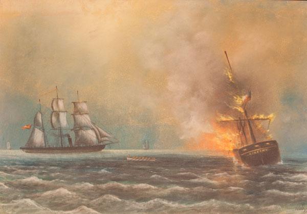 CSS Alabama sinks the whaler Virginia.