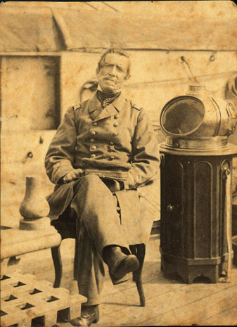 Capt. Raphael Semmes on the Alabama in Cape Town, S. Africa, 12 Aug. 1863.