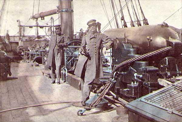 Capt. Raphael Semmes and 1st Lt. John Kell on CSS Alabama, 1863.