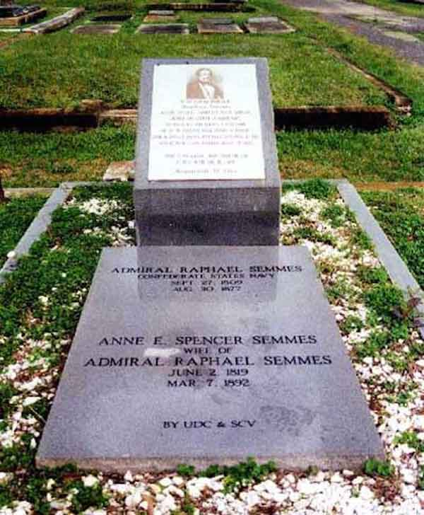 Grave site of Admiral Raphael Semmes and his wife, Anne E. Spencer Semmes, in Mobile, AL.