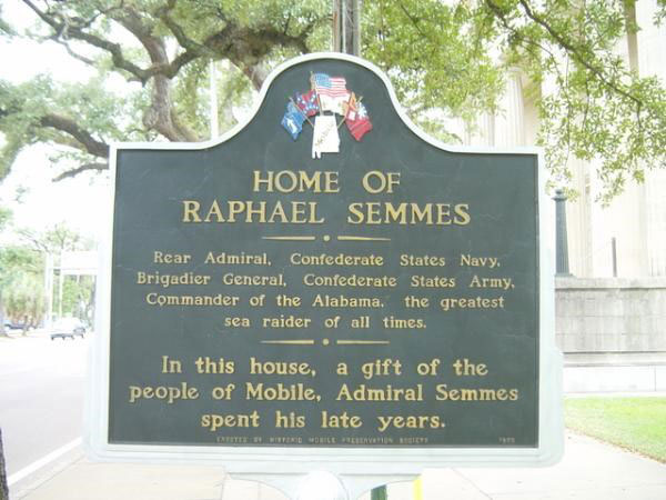 Marker for Semmes's house in Mobile, Alabama.