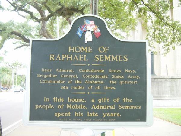 Marker for Semmes's house in Mobile, Alabama.