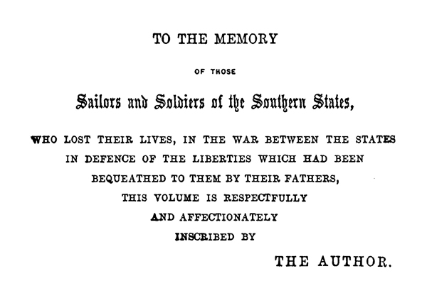 Inscription by Adm. Raphael Semmes in Memoirs of Service Afloat During the War Between the States.