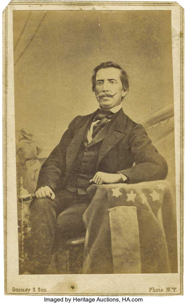 Raphael Semmes with the First National Confederate Flag, the Stars and Bars.