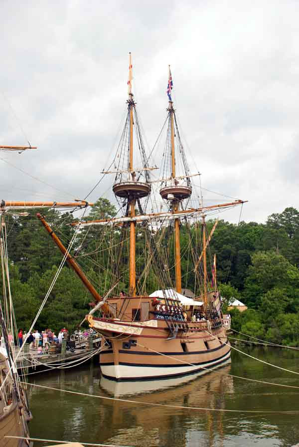 Replica of the Susan Constant, one of the three ships to first land in Jamestown, Virginia in 1607.