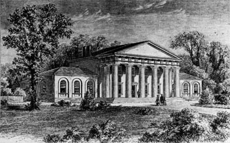 Arlington House, the Lees' estate, 1857, the grounds are now Arlington National Cemetery.
