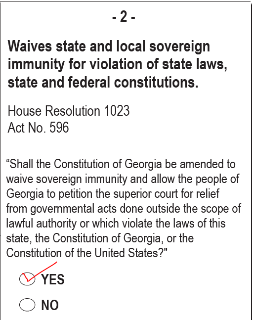 Sovereign Immunity Amendment, -2-, on Georgia's 2020 ballot. VOTE YES TO END SOVEREIGN IMMUNITY!