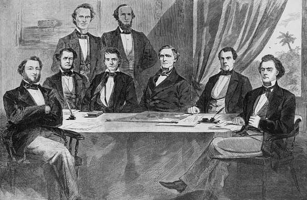 Original Confederate Cabinate 1861, L-R: Benjamin, Mallory, Memminger, Stephens, Walker, Davis, Reagan, Toombs.