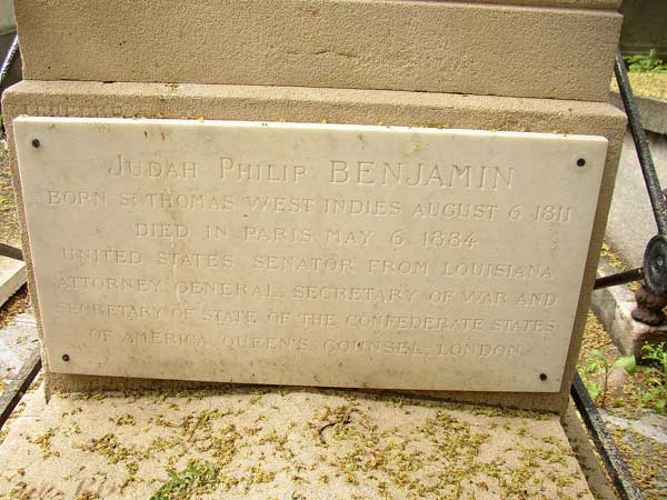 Judah Benjamin's grave at Pere Lachaise Cemetery in Paris.