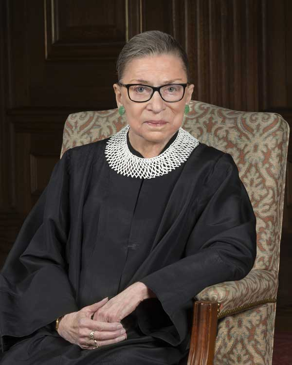 Official portrait, Associate Justice Ruth Bader Ginsburg, Supreme Court of the United States.