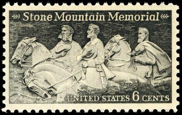 Robert E. Lee, Jefferson Davis, Stonewall Jackson in Stone Mountain stamp issued 1970.