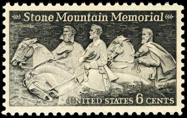 Robert E. Lee, Jefferson Davis, Stonewall Jackson in Stone Mountain stamp issued 1970.