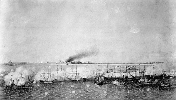 Union attack on Fort Fisher Dec., 1864. The Little Hattie ran through this fleet at night.
