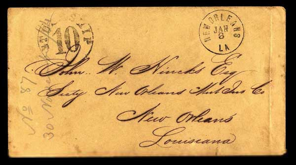 Blockade-runner mail to New Orleans via Nassau, Bahamas, stamped incoming ship 10-cents postage due.
