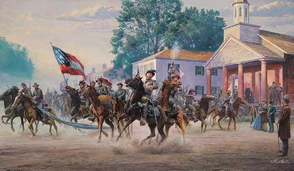Mort Kunstler print of John Hunt Morgan's Ohio Raid, July 14, 1863.
