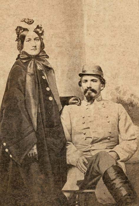 """John & Martha """"Mattie"""" Morgan. She gave birth to a daughter after he was killed in 1864, her name, Johnnie Hunt Morgan."""