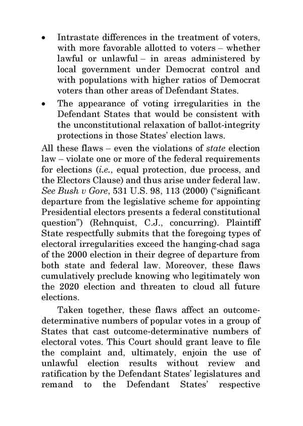 Texas Law Suit Against Pennsylvania, Georgia, Michigan, and Wisconsin at SCOTUS, PAGE 4.