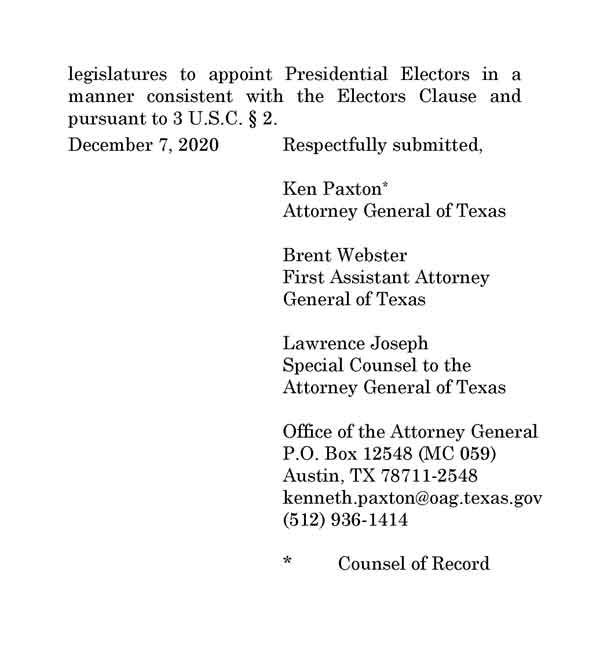 Texas Law Suit Against Pennsylvania, Georgia, Michigan, and Wisconsin at SCOTUS, PAGE 5.