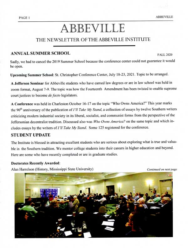 Abbeville Institute newsletter, Fall, 2020, front cover.