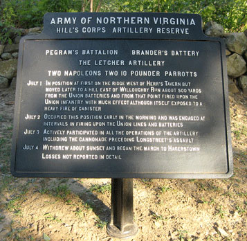 Gettysburg Battlefield, marker for Hill's Corps, ANV, Pegram's Battalion, Brander's Battery, and Letcher Artillery.